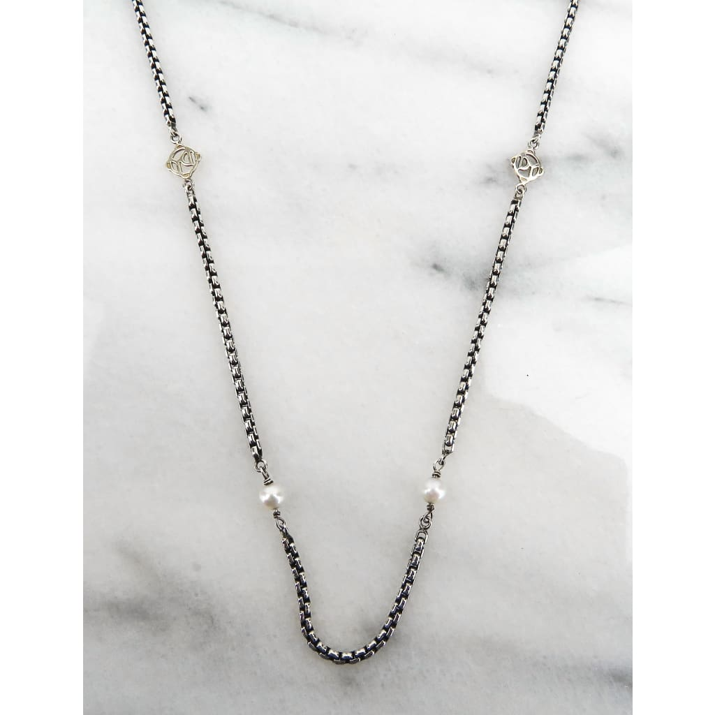 David Yurman Sterling Silver 14K Yellow Gold Pearl Box Chain Necklace - Necklace