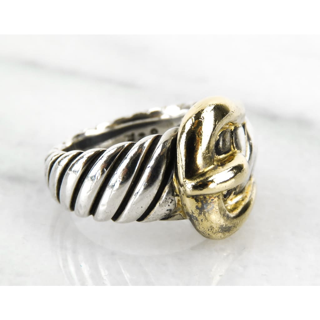 David Yurman Sterling Silver 18K Yellow Gold Buckle Ring - Ring