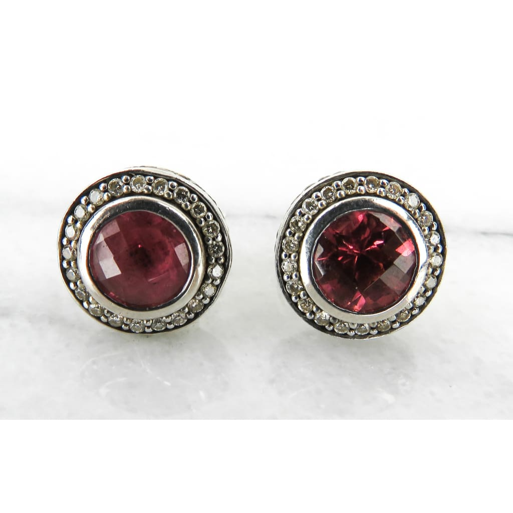 David Yurman Sterling Silver Pink Tourmaline Diamond Cerise Stud Earrings - Earrings
