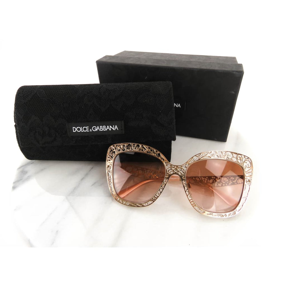 cbeced88524 D G Rose Gold-tone Flower Lace Sunglass – Mosh Posh Designer ...
