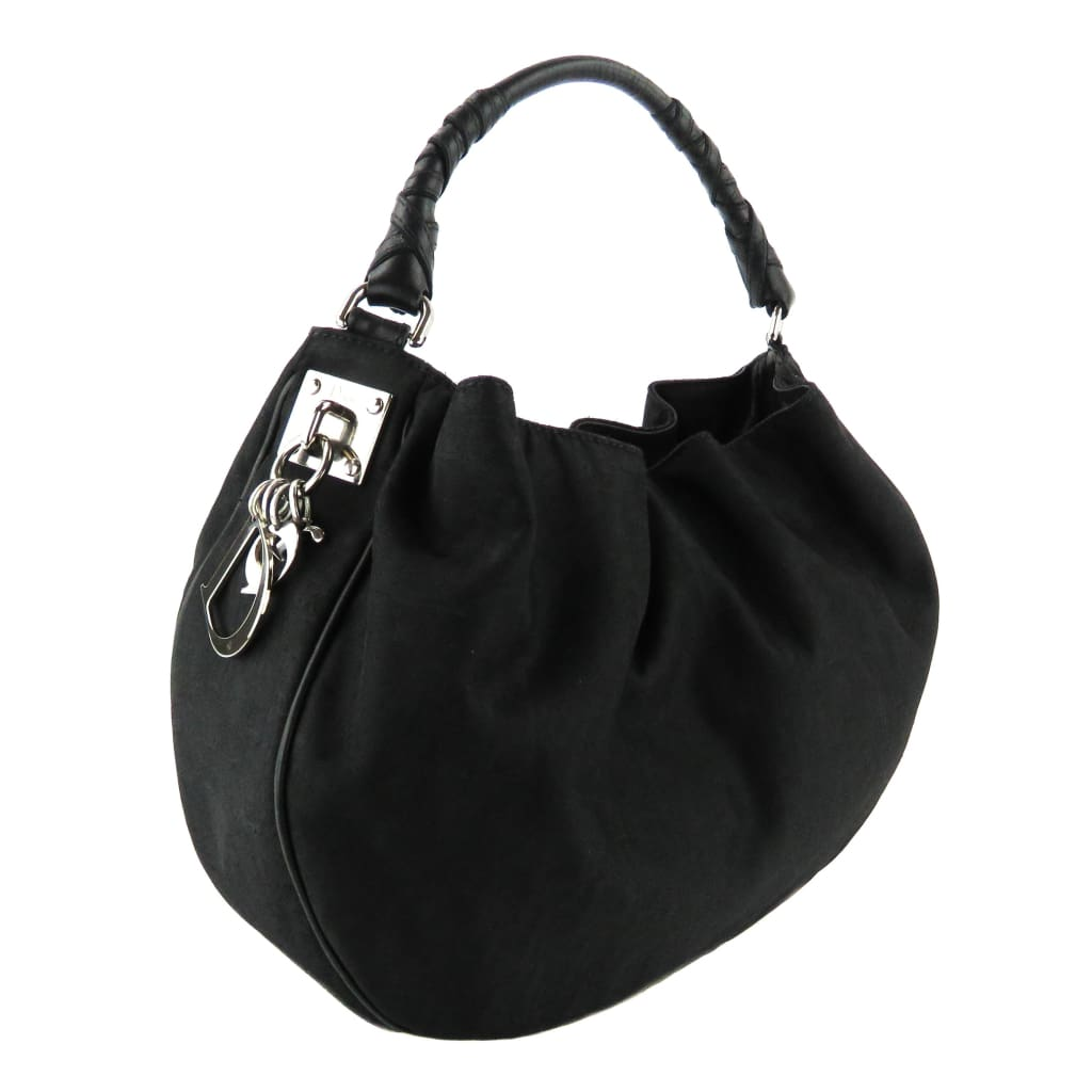 Dior Black Canvas Small Hobo Shoulder Bag - Hobo Bags