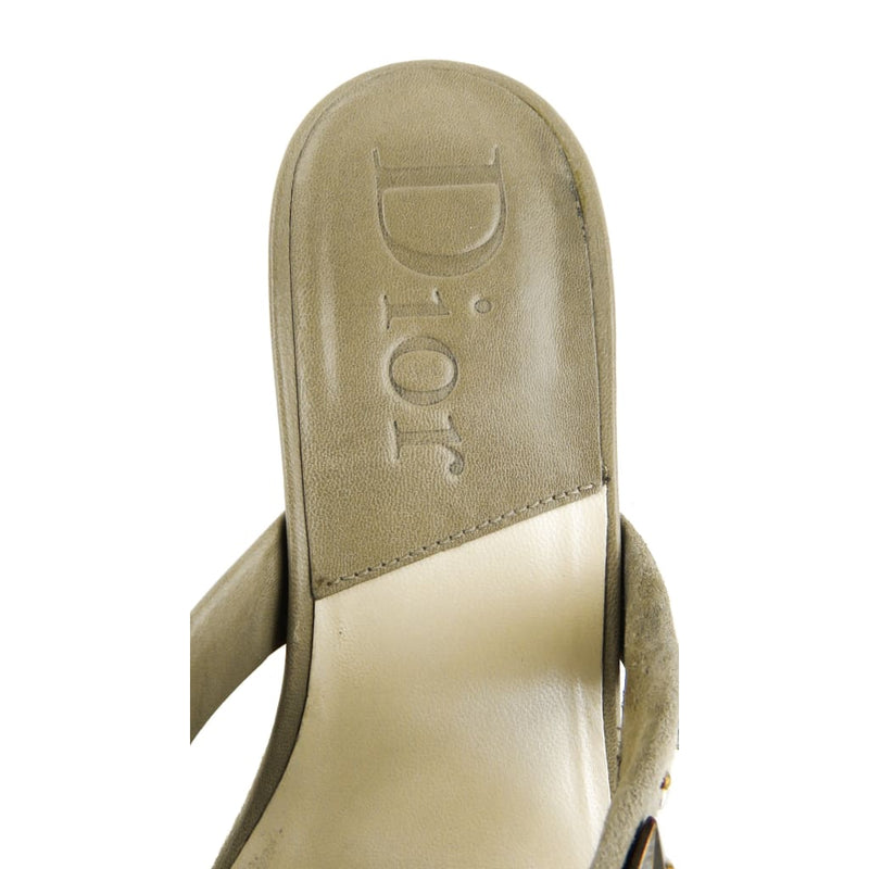 Dior Grey Leather Studded Mule Heels - Heels
