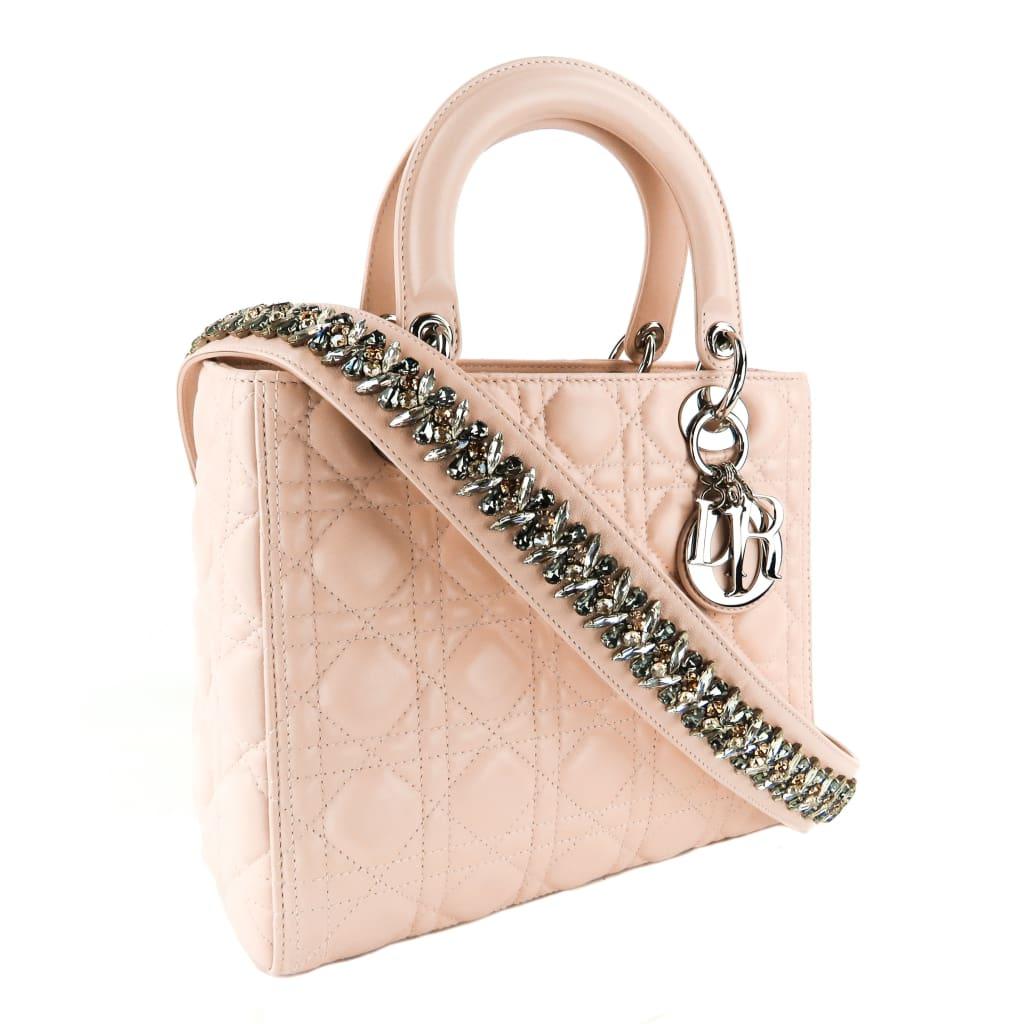 Dior Light Pink Cannage Quilted Leather Medium Lady Dior Embellished Tote Bag - Satchels