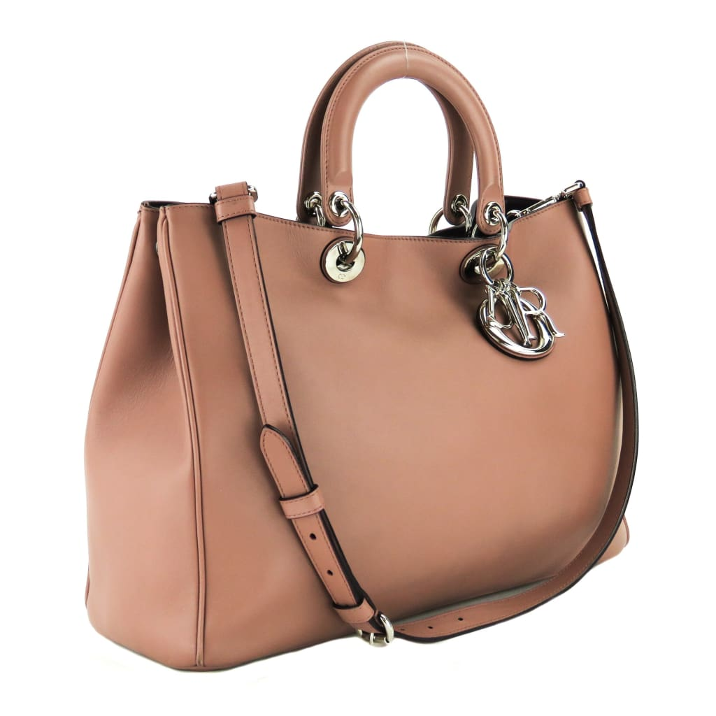 Dior Mauve Calfskin Leather Diorissimo Large Tote Bag - Totes