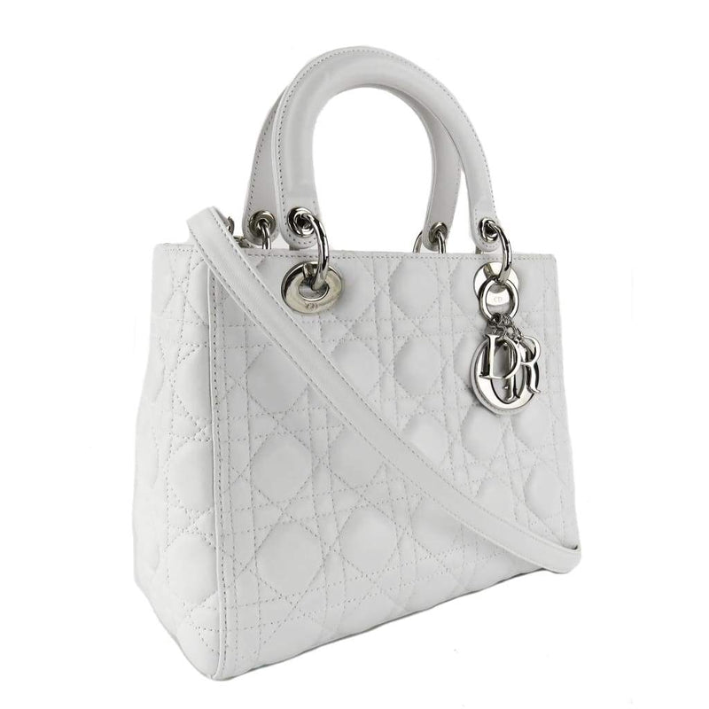 Dior White Cannage Quilted Leather Medium Lady Dior Tote Bag - Satchels