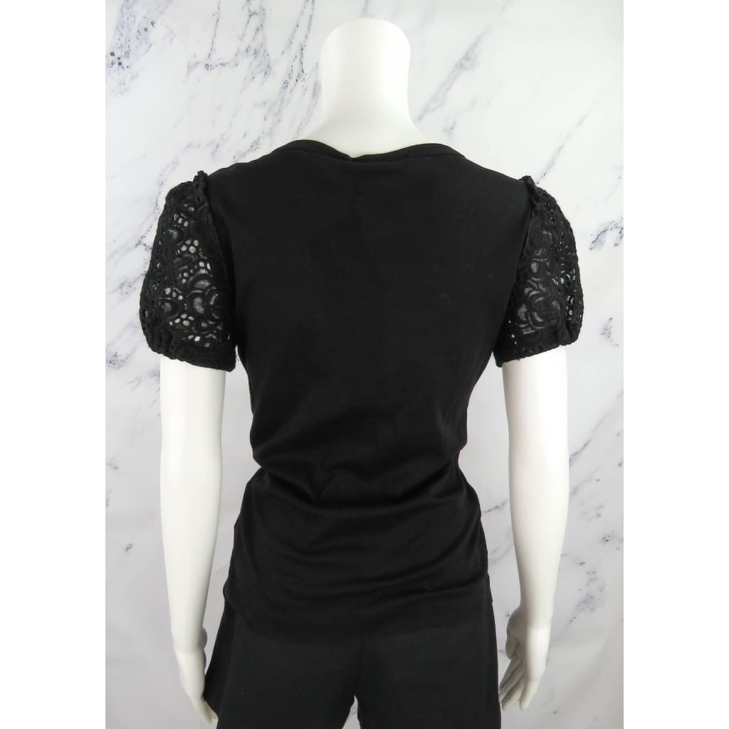 Dolce & Gabbana Black Cotton Size 44 Floral Lace Shortsleeve Top - Top