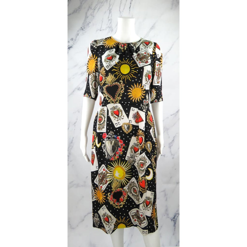 Dolce & Gabbana Black Multicolor Silk Cards Print Dress - Dresses