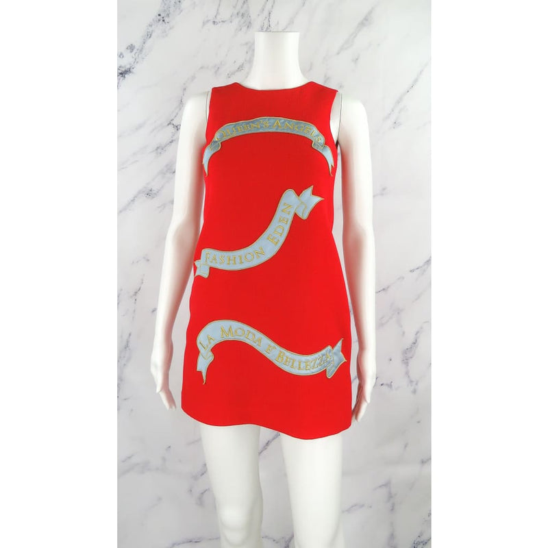 Dolce & Gabbana Red Wool Queens & Angels Size 00 Sleeveless Dress - Dresses