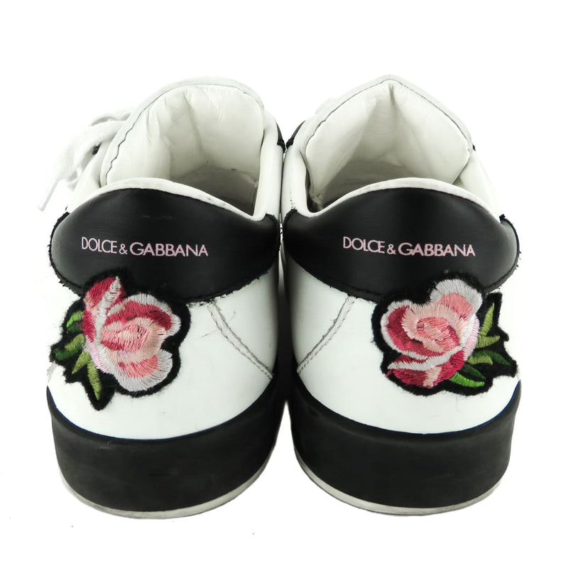 Dolce & Gabbana White and Black Leather Rose Patch Sneakers - Sneakers