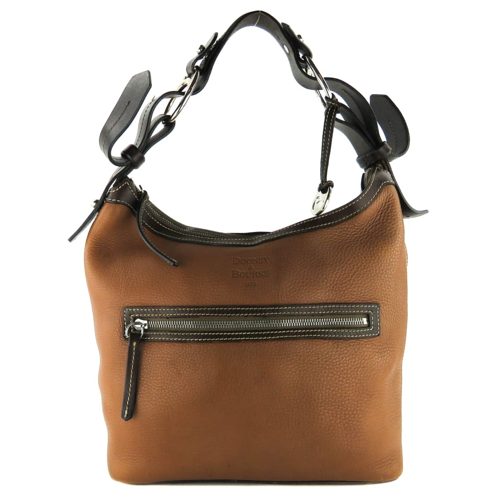 Dooney & Bourke Tan Pebbled Leather Hobo Bag - Totes