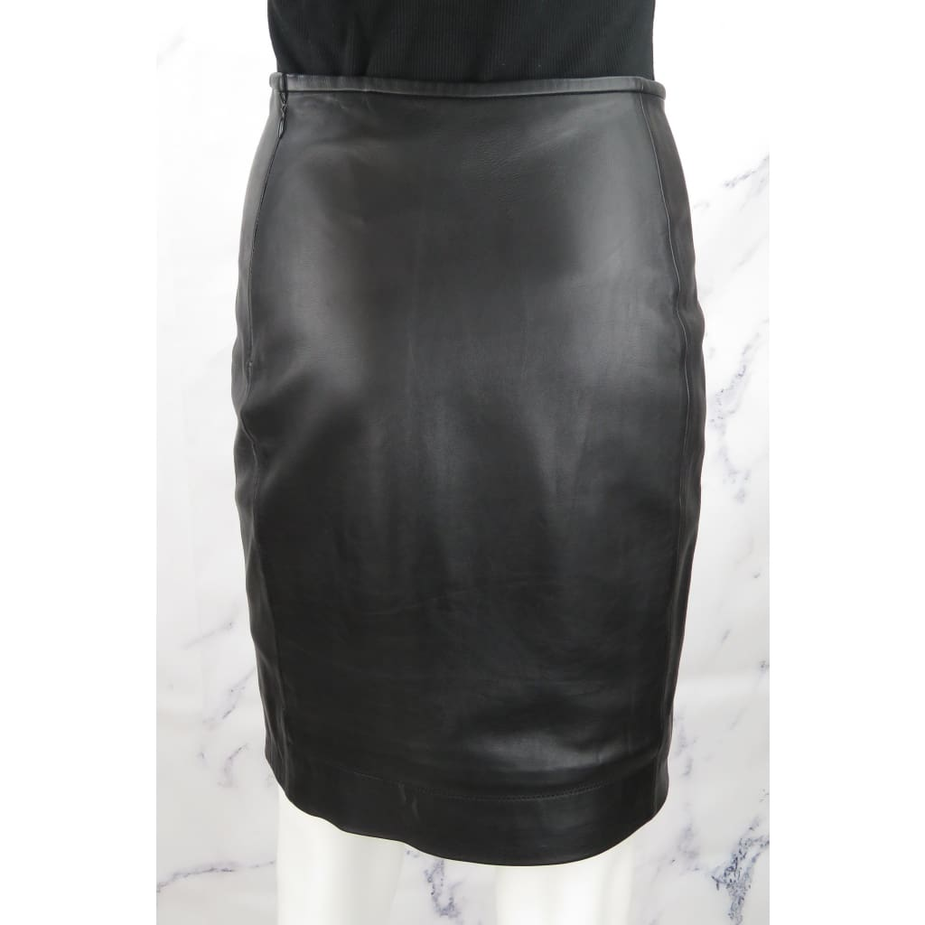 DVF Black Leather Size Rita Two All Over Skirt - Skirts