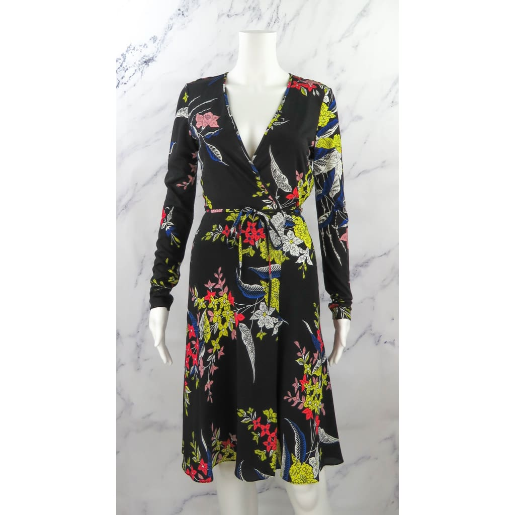DVF Black Multicolor Silk Size Floral Print Longsleeve Wrap Dress - Dresses