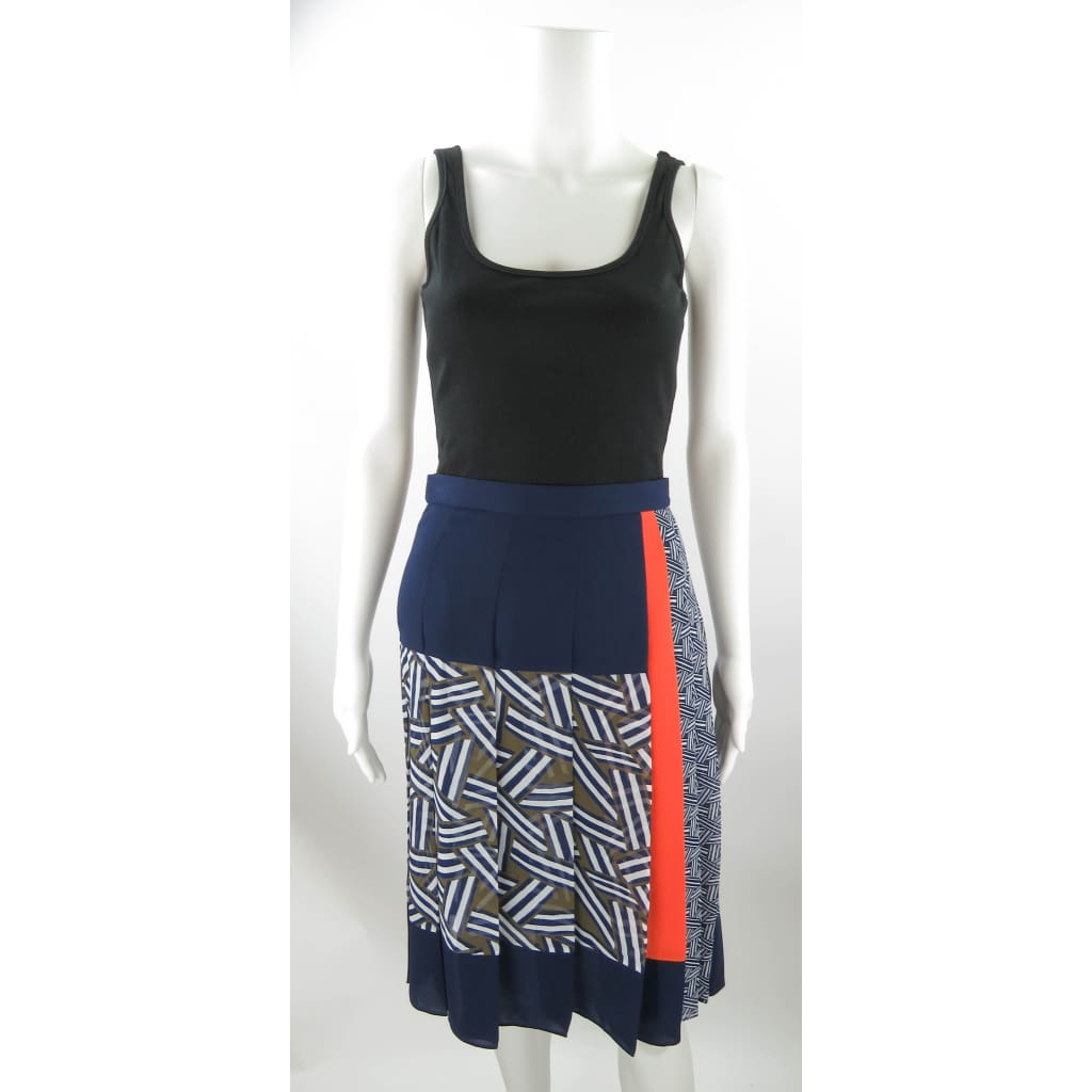 DVF Blue Multicolor Polyester Pleated Size 4 Skirt - Skirts