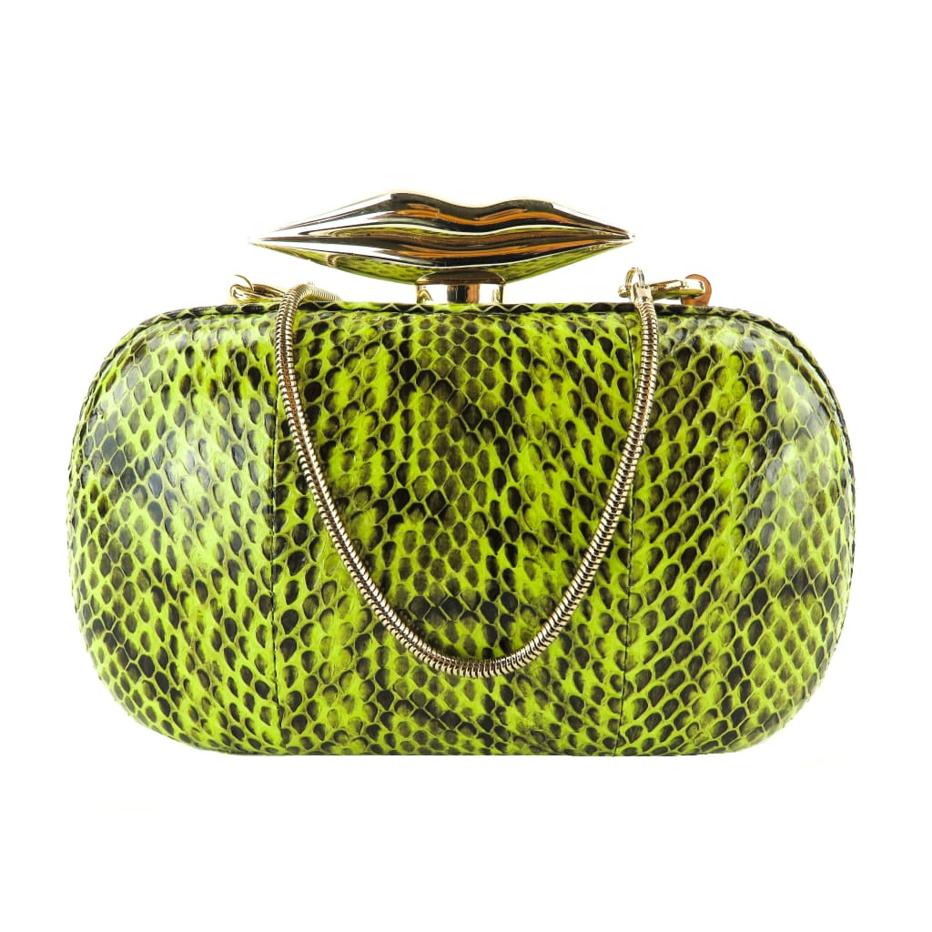 DVF Green and Black Snake Flirty Elaphe Box Clutch Bag - Clutches