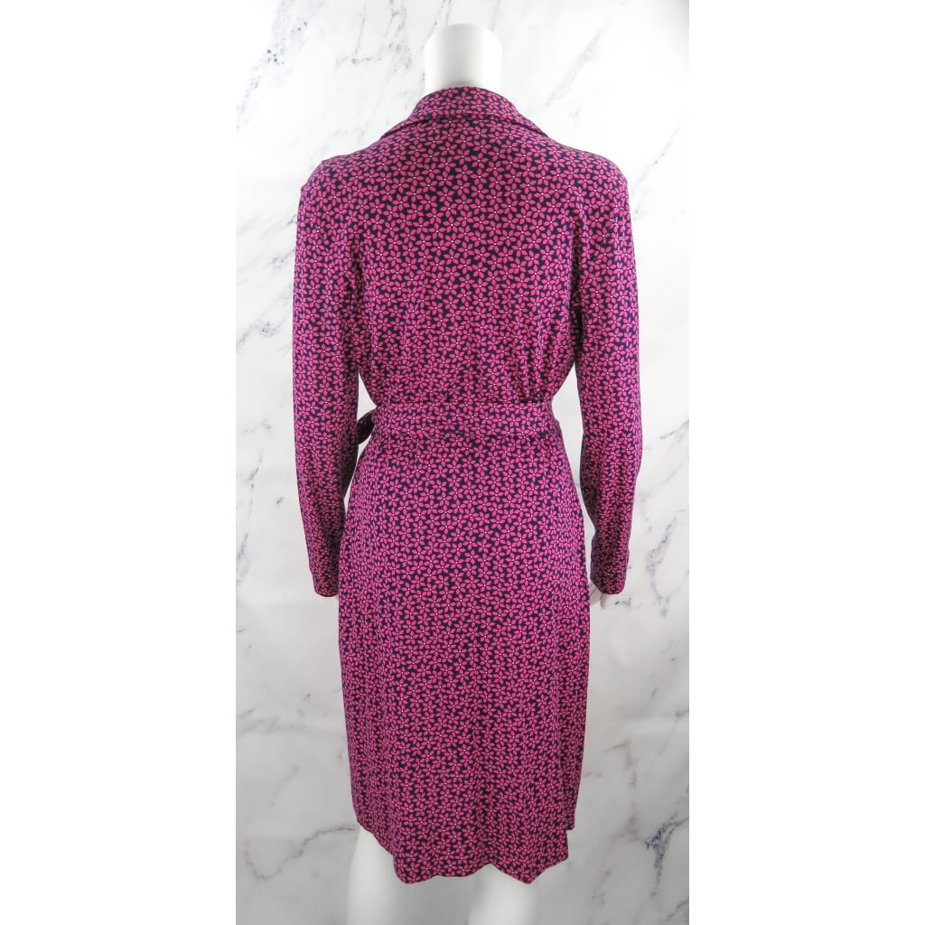 DVF Navy Blue and Pink Cotton Size 10 Floral Long Sleeve Wrap Dress - Dress