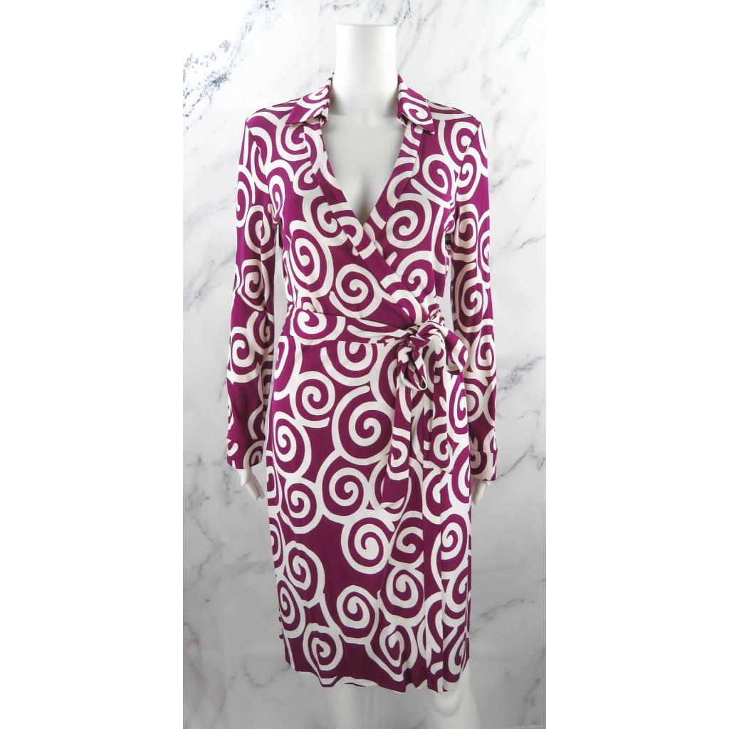 DVF Purple and White Silk Size 10 Long Sleeve Wrap Dress - Dress