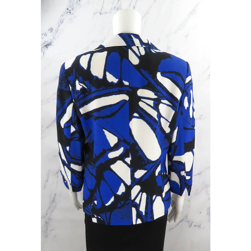 Escada Blue Viscose Multicolor Print Size 38 Blazer Jacket - Blazer