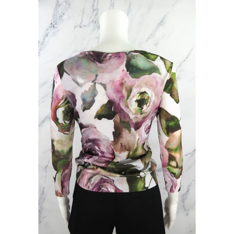 Escada Pink Modal Cotton Floral Print Small Crop Sleeve Sweater - Sweater