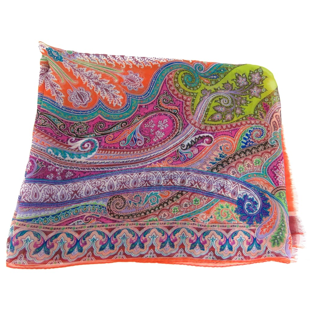 Etro Orange Multicolor Pattern Silk Scarf - Scarves