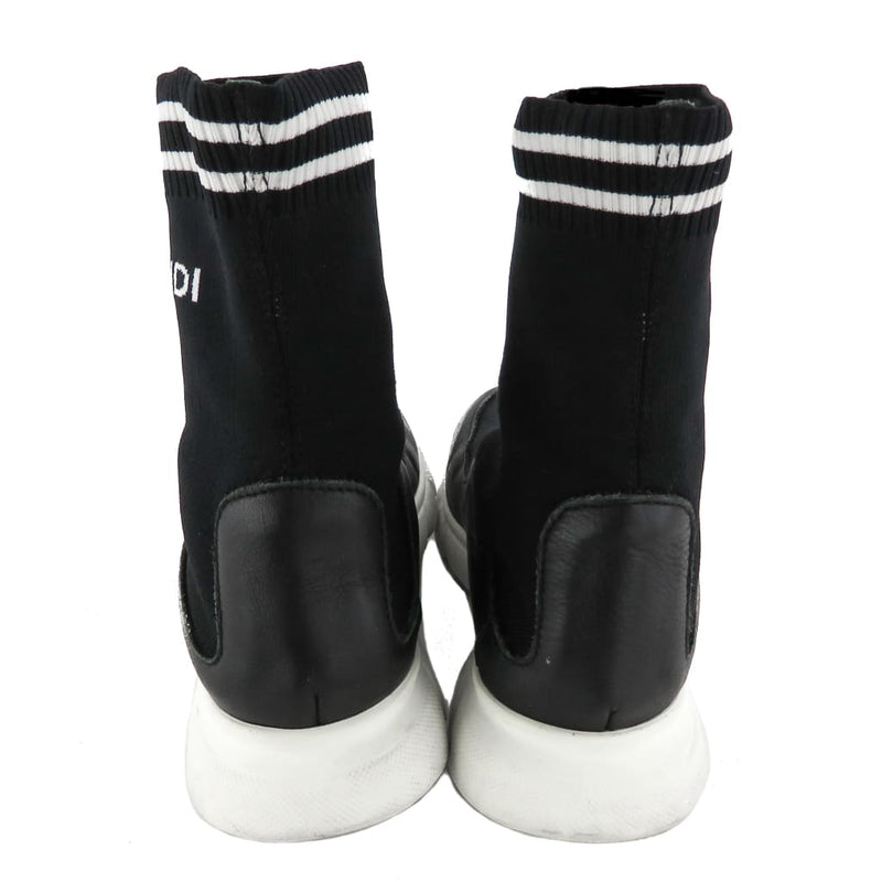 Fendi Black Elastic Fabric and Leather Sock Sneakers - Sneakers