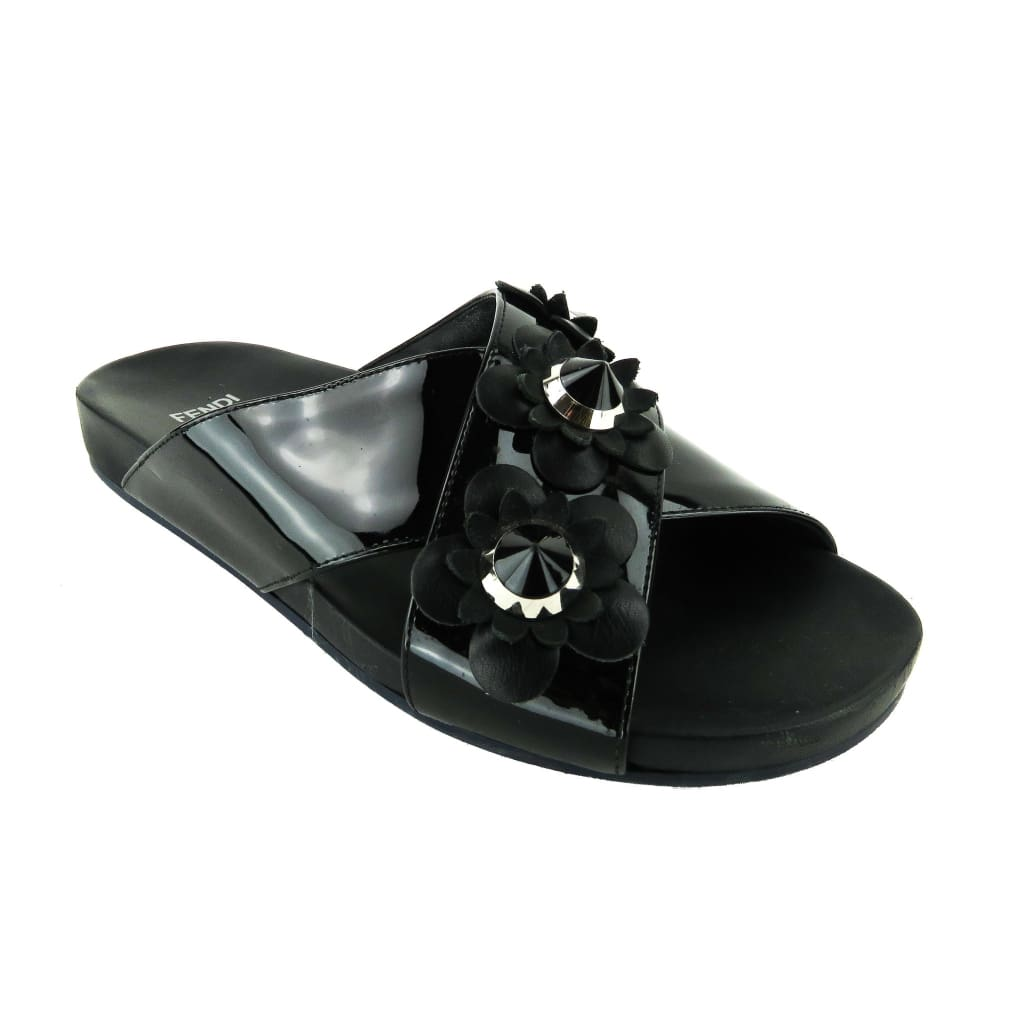 Fendi Black Patent Leather Flowerland Slide Sandals - Flats