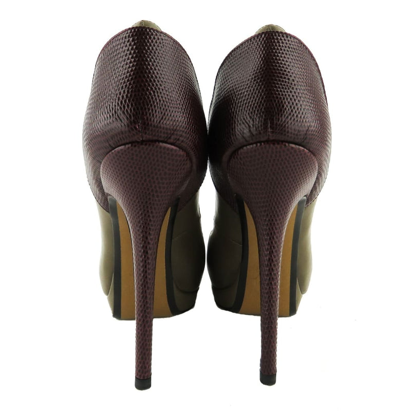 Fendi Dark Olive and Wine Leather Lizard Strapped Arime Platform Pumps - Heels