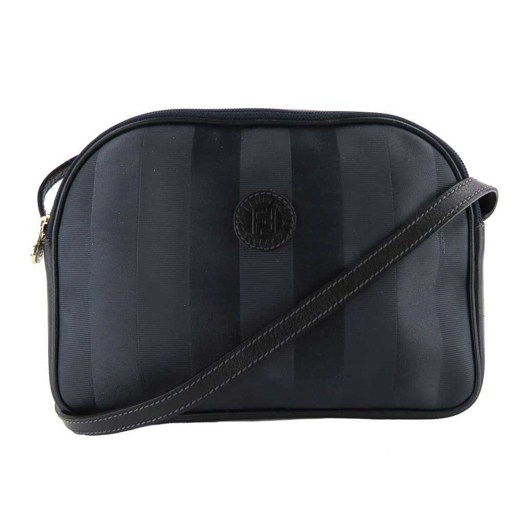 Fendi Navy Blue Leather Striped Penguin Crossbody Bag - Crossbodies