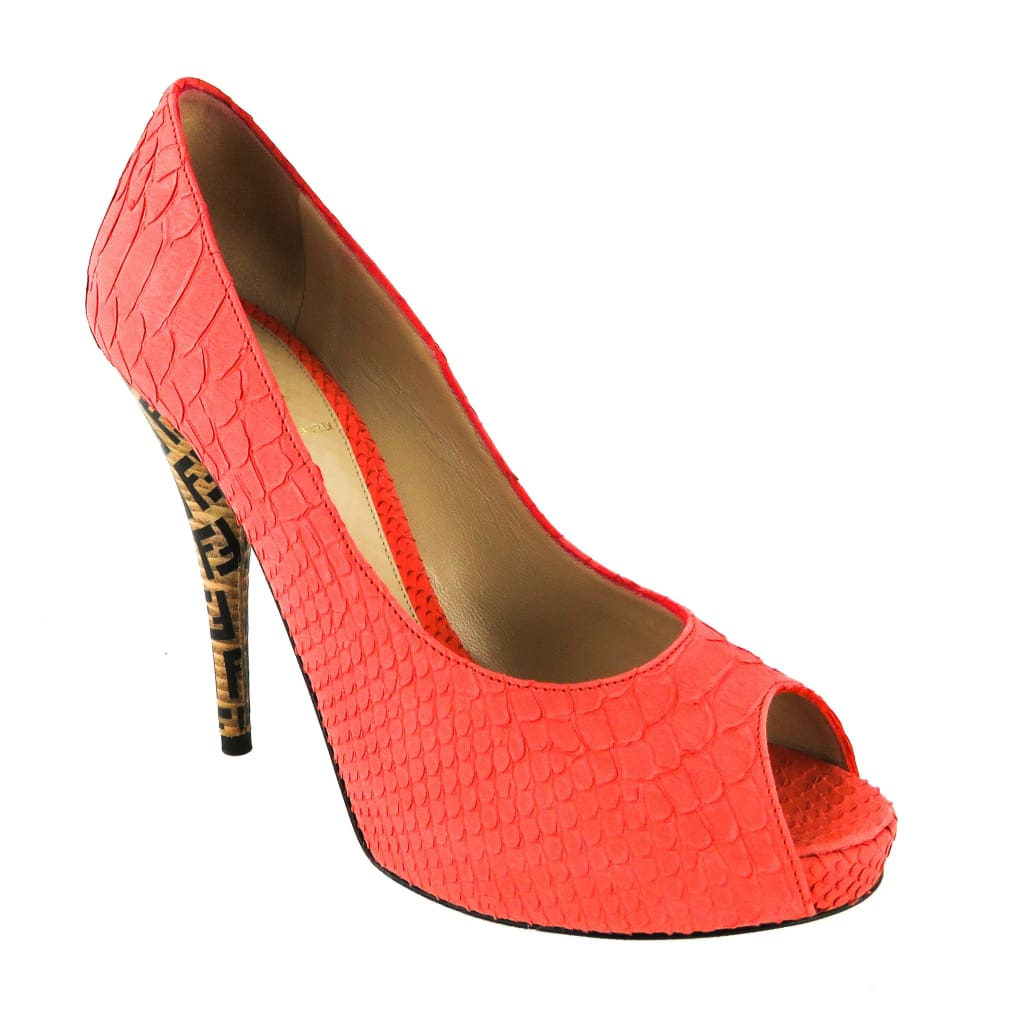 Fendi Pink Python Embossed Leather Peep Toe Pumps - Heels