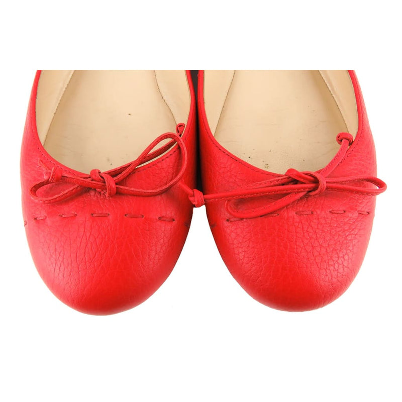 Fendi Red Leather Bow Ballet Flats - Flats