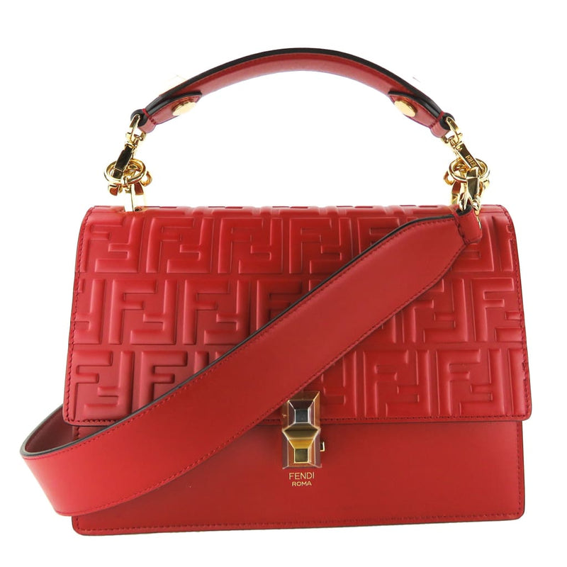 Fendi Red Leather Kan I FF Embossed Leather Satchel Bag - Satchels