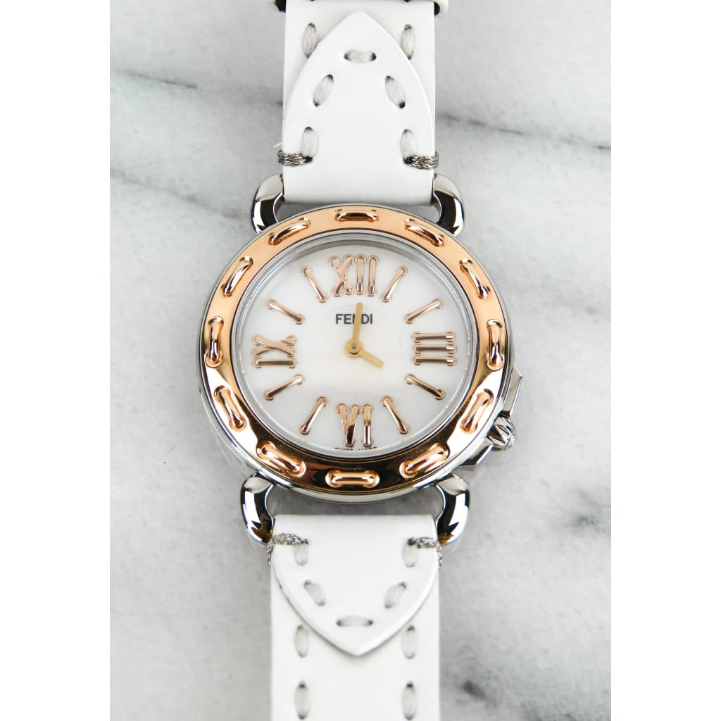 Fendi Rose Gold-tone Stainless Steel White Leather Sellena Watch - Watch Bands