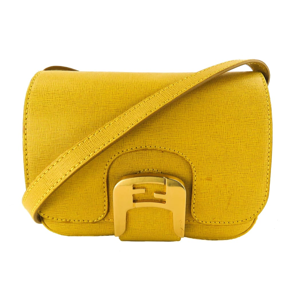 Fendi Yellow Leather Crosshatched Mini Chameleon Crossbody Bag - Crossbodies