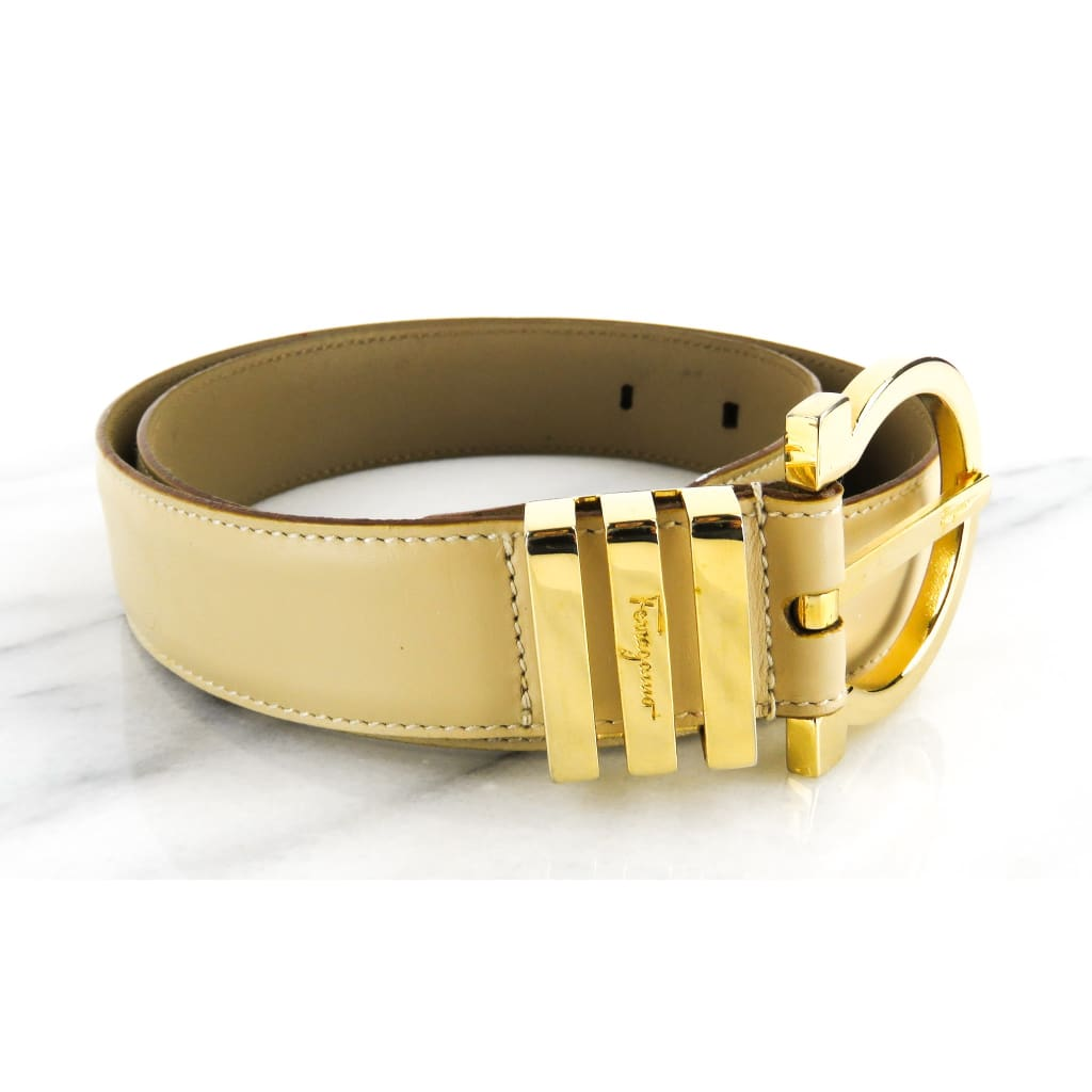 Ferragamo Beige Leather 70cm Gancini Belt - Belts