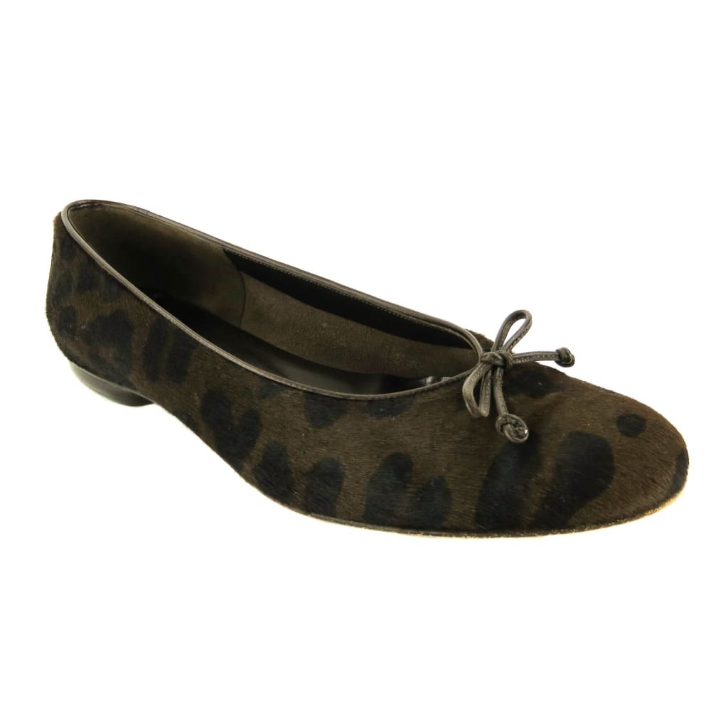 Ferragamo Brown and Black Calf Hair Animal Print Bow Flats - Flats