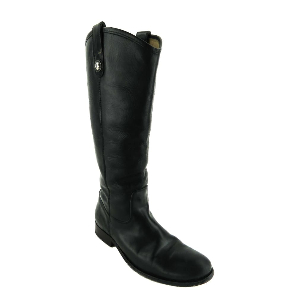 Frye Black Leather Melissa Button Riding Boots - Boots/Rain Boots
