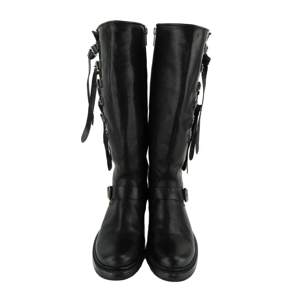 Frye Black Leather Veronica Tall Strap Riding Boots - Boots/Rain Boots
