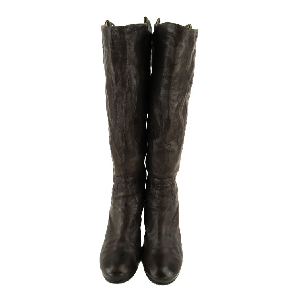 Frye Brown Crinkled Leather Knee High Boots - Boots/Rain Boots