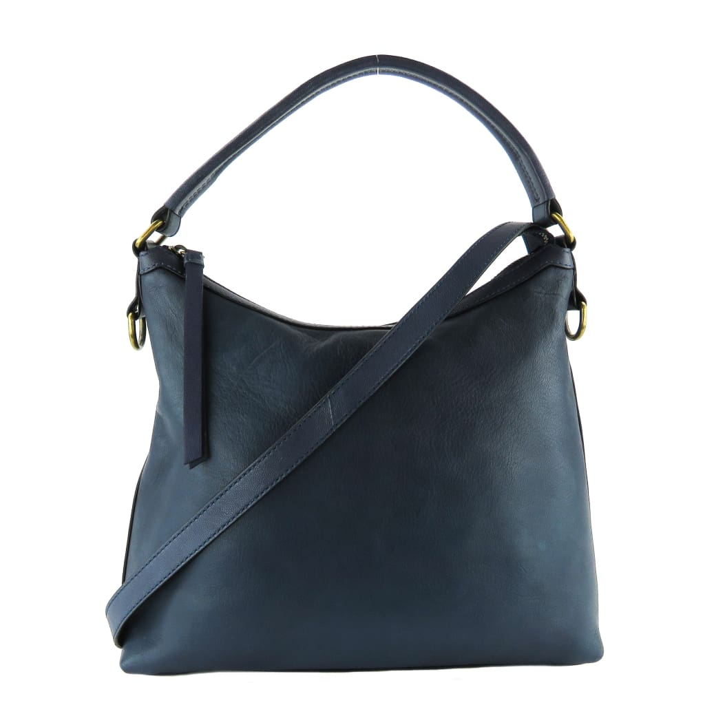 Frye Navy Blue Leather Lily Hobo Crossbody Bag - Crossbodies