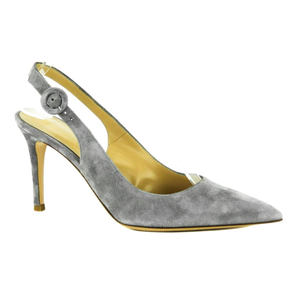Gianvito Rossi Grey Suede Anna Slingback Pointed Toe Heels - Heels