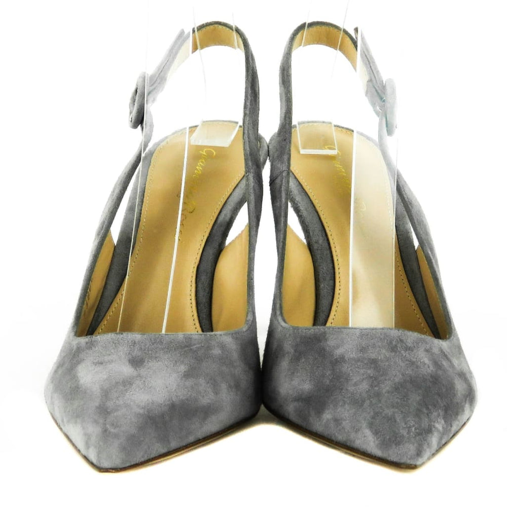 d9a9ef54095 Gianvito Rossi Grey Suede Anna Slingback Pointed Toe Heels – Mosh ...