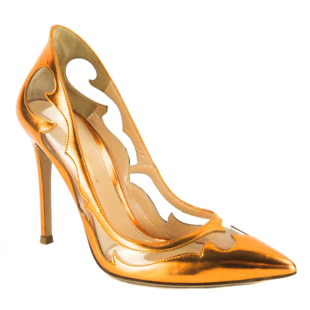 Gianvito Rossi Orange Metallic Leather Pvc Western Pumps - Heels