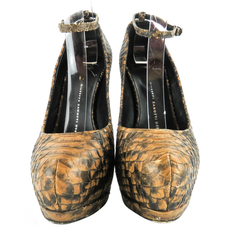 Giuseppe Zanotti Black and Brown Python Platform Ankle Strap Heels - Heels
