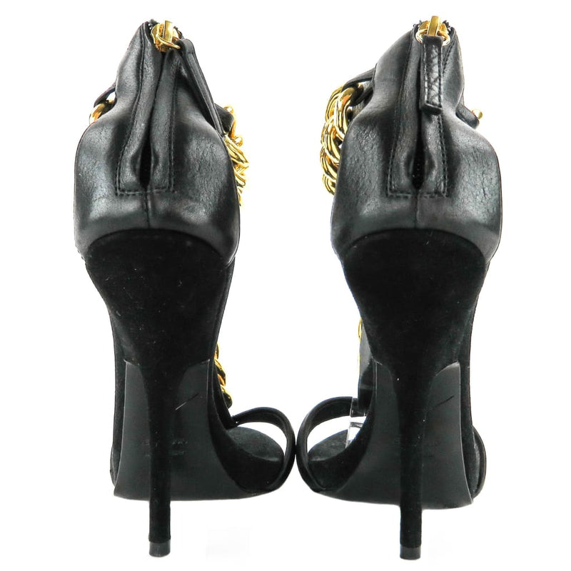 Giuseppe Zanotti Black Leather Gold Chain Alien 115 Sandal Heels - Heels
