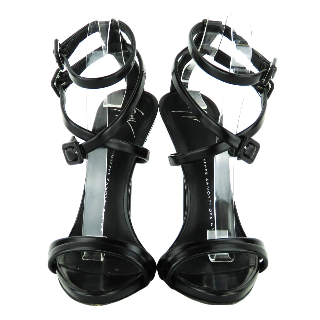 Giuseppe Zanotti Black Leather Multi Buckle Strap Sandal Heels - Heels