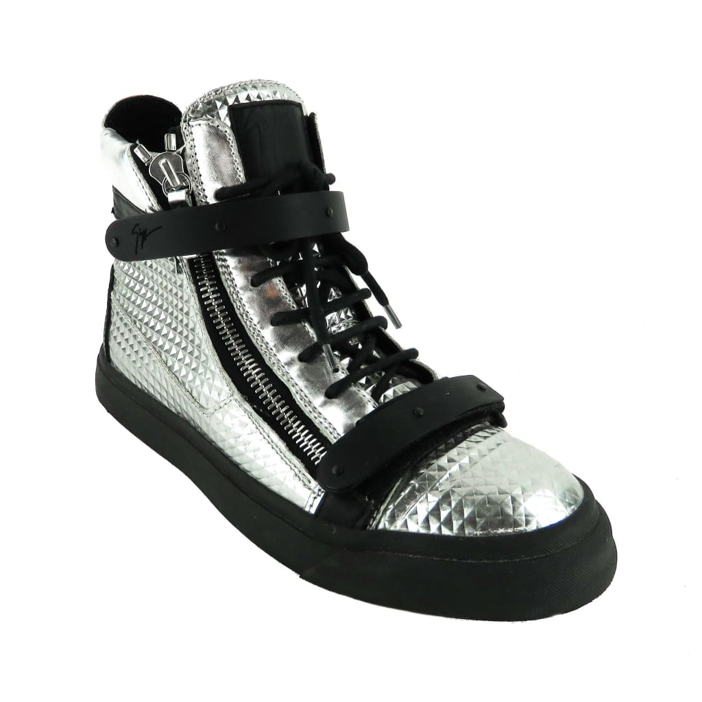 Giuseppe Zanotti Silver Metallic Leather Double Bangle Disco High Top Sneakers - Sneakers