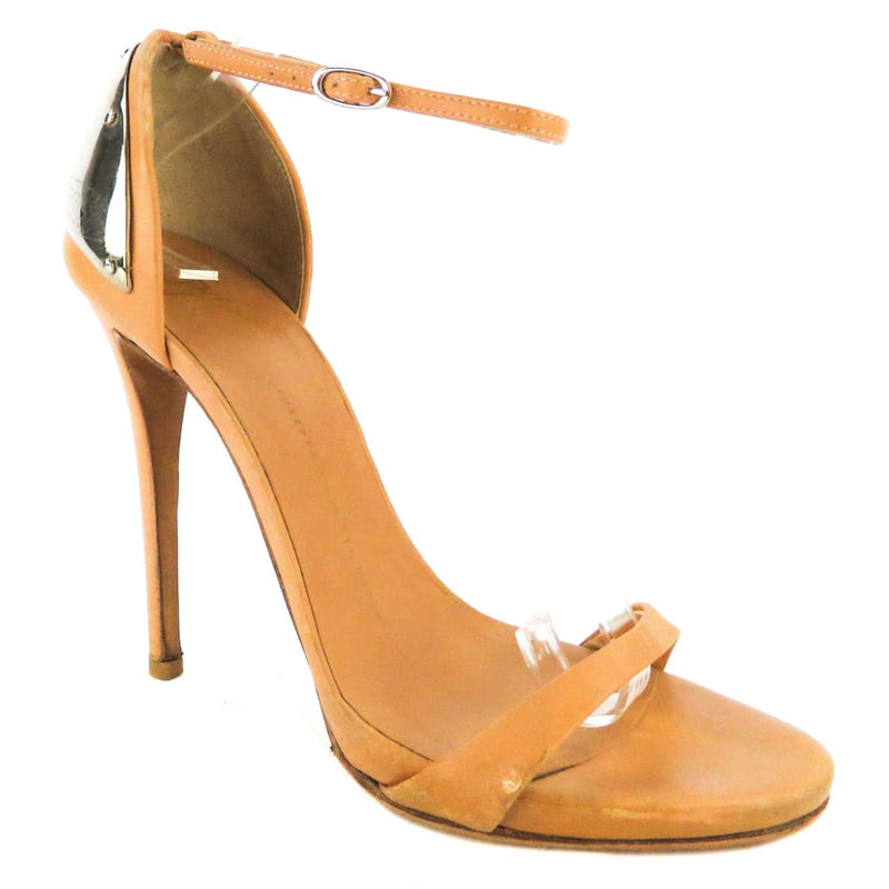 Giuseppe Zanotti Tan Leather Metal Plated Sandal Heels - Heels