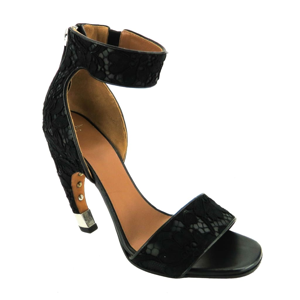 Givenchy Black Leather Macrame Lace Ankle Strap Sandal Heels - Heels
