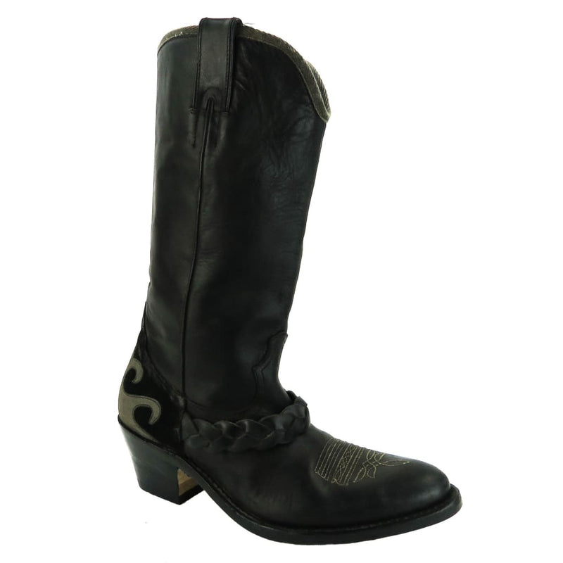 Golden Goose Deluxe Brand Black Leather Braided Detail Cowboy Boots - Bootie