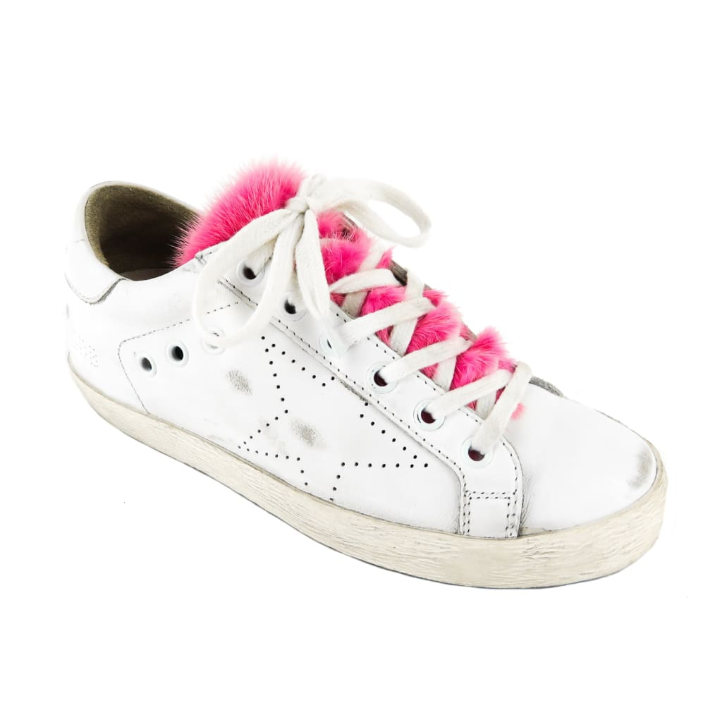Golden Goose White Leather Superstar Pink Fur Trim Low Top Sneakers - Sneakers