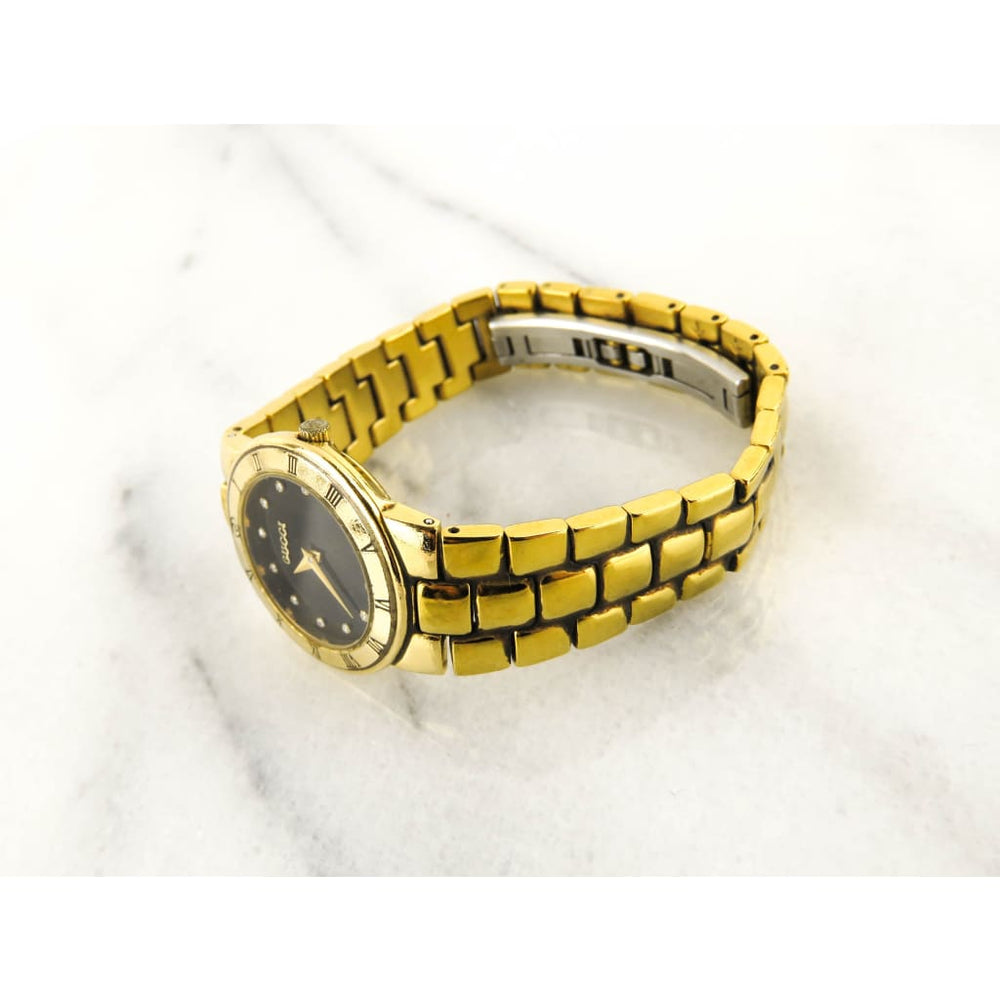 26098f160d5 Gucci 18k Gold Plated Vintage Diamond Hour Marker Watch – Mosh Posh  Designer Consignment Boutique